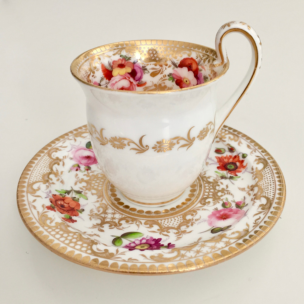 Coalport coffee cup and saucer, 1820