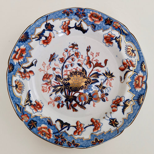 Spode small plate, Bang-Up pattern with Ship border, New Stone China, 1822-1833