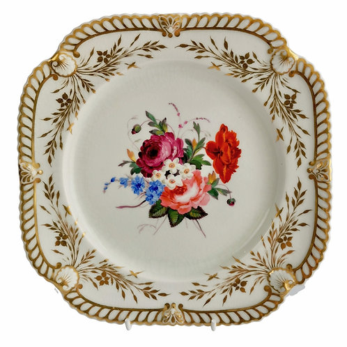 Chamberlains Worcester dessert plate, white with flowers, ca 1822 (1)