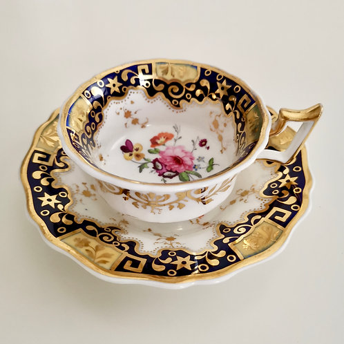 Ridgway teacup, cobalt blue, gilt and flowers patt 2/1126, ca 1825