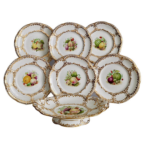 Davenport dessert service, white with hand painted fruits, 1869