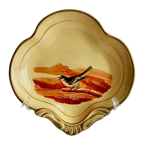 Pearlware shell dish with bird, attr. to Wedgwood, ca 1820
