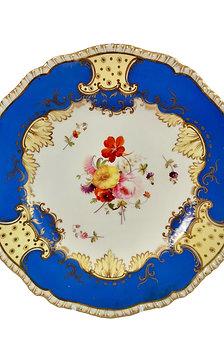 Coalport dessert plate, Brunswick blue and flowers, ca 1825