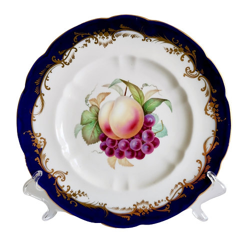 Coalport plate, cobalt blue and fruits by Jabey Aston, ca 1870