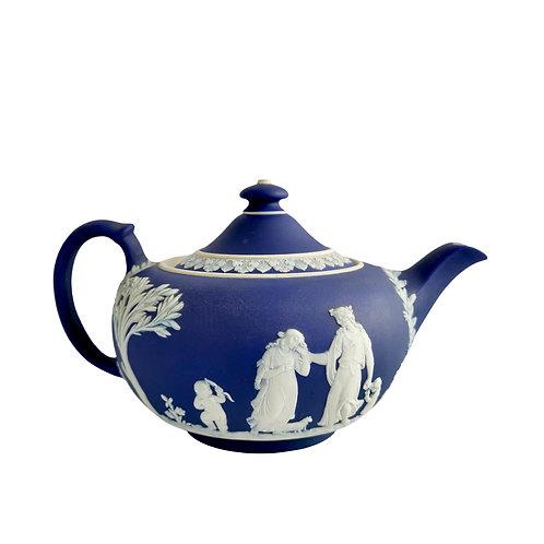 Wedgwood dark blue Jasperware teapot 1 pint, Neoclassical 1921