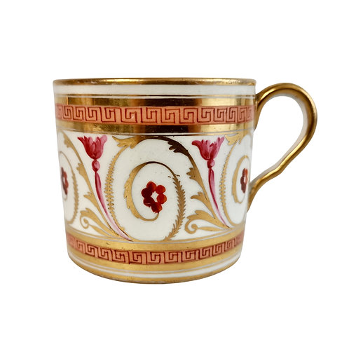 Coalport John Rose orphaned coffee can, peach, gilt and pink, Regency ca 1810