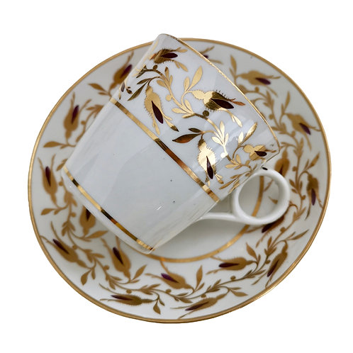 Chamberlain Worcester coffee cup, gilt and brown rose buds, ca 1805