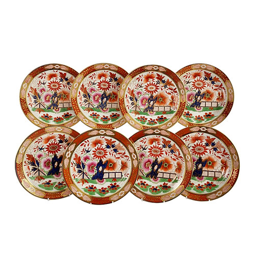 Set of 8 Barr Flight & Barr plates, Imari Fence pattern, 1811-1813