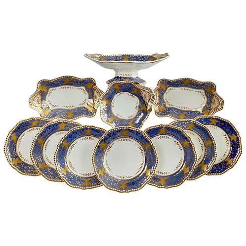 Spode Felspar dessert service, lavender and raised gilt, 1828