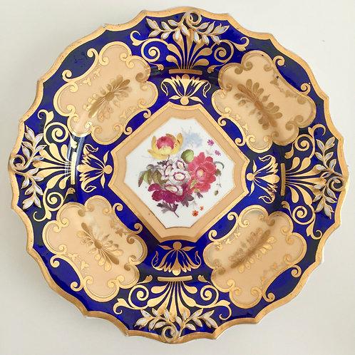 Dessert plate, cobalt blue, gilt and flowers, Ridgway ca 1823