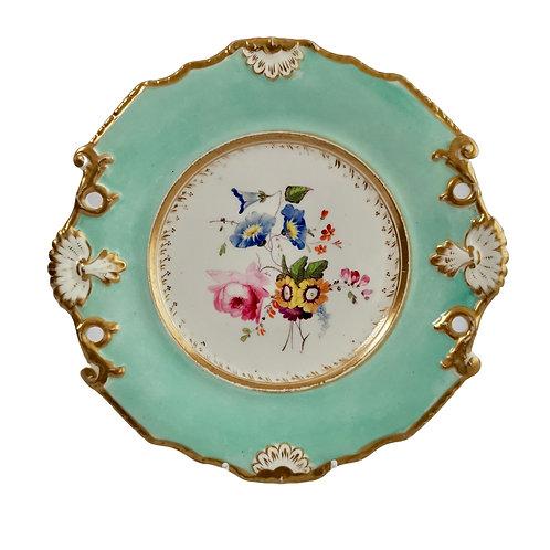 Samuel Alcock plate, flowers on duck egg blue, ca 1820