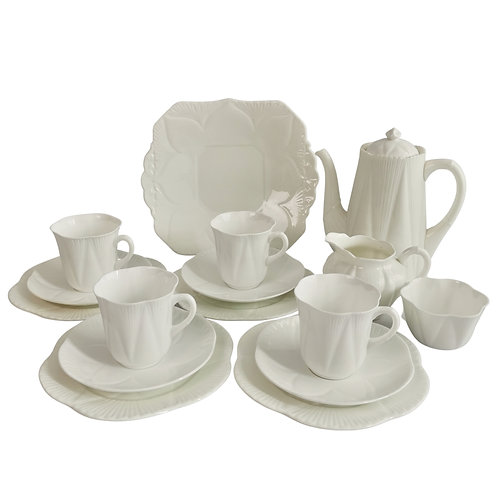 """Shelley """"Dainty White"""" coffee service for 4, 1926-1940"""