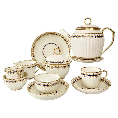 Crown Derby breakfast set, white ribbed, 1782-1790