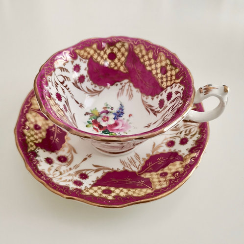 Rare G.F. Bowers teacup and saucer, carmine red and flowers, ca 1845