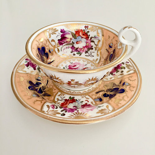 "Teacup and saucer, stunning flowers, attr. ""189 Factory"" ca 1825"
