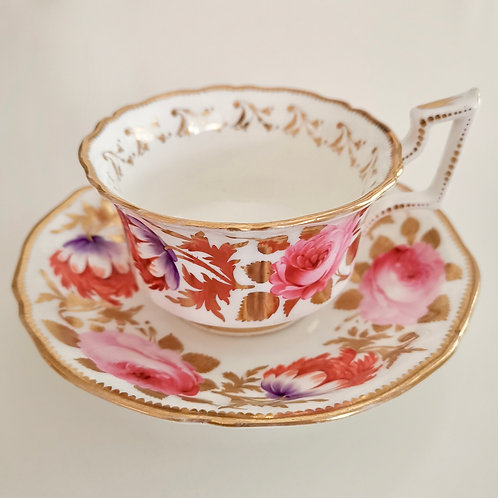 Grainger teacup, rare flower paintings patt. 1577, 1825-1830