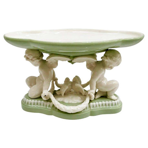 Minton tazza, Parian celadon with cherubs and doves, 1855