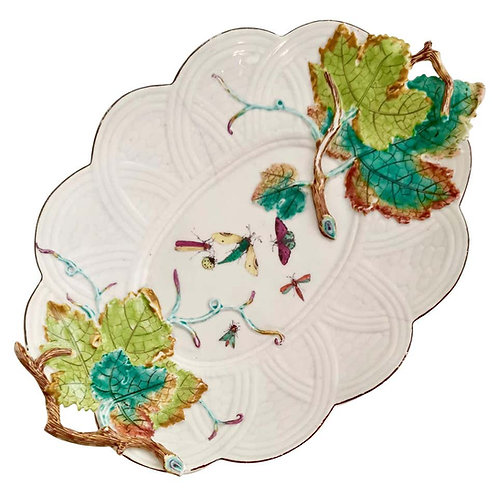 Chelsea serving dish, embossed vines and moths, ca 1754