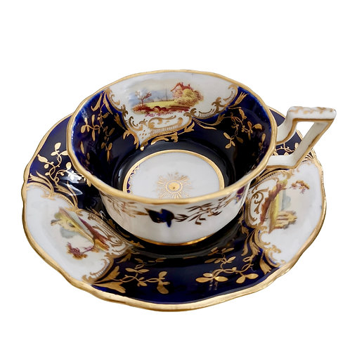 Coalport teacup, cobalt blue with landscapes, ca 1823