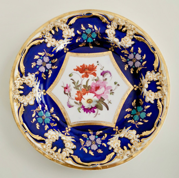 Coalport plate, embossed and hand painted flowers, ca 1815
