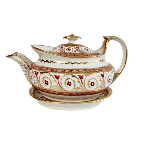 John Rose Coalport teapot, Regency pattern peach, gilt and fuchsia pink, ca 1810