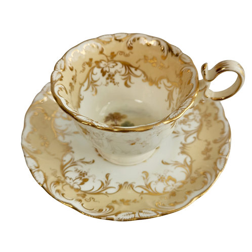 Coffee cup, Coalport beige with landscapes, Adelaide shape, ca 1840 (2)