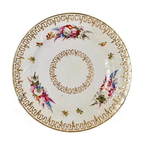 Coalport plate, flower head moulding, ca 1815