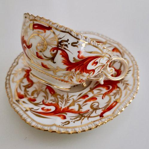 Coalport teacup and saucer, Pembroke patt. 952, ca1820 (A/F)