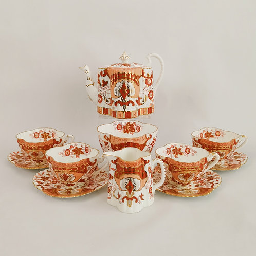Rare Wileman tea service, Japan Red patt. 4024, 1889