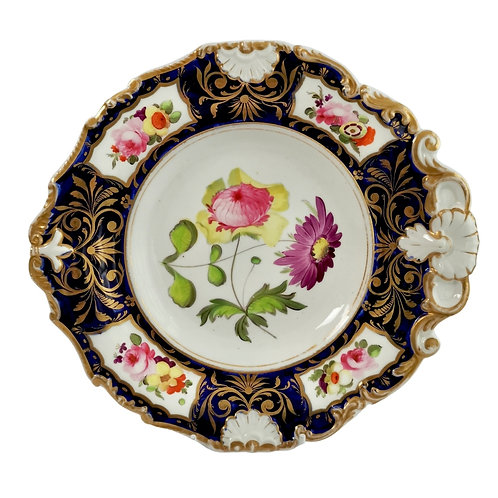 Machin plate, cobalt blue and flowers, inverted shell shape, ca 1820