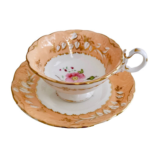 Coalport teacup and saucer, Adelaide shape, ca 1839