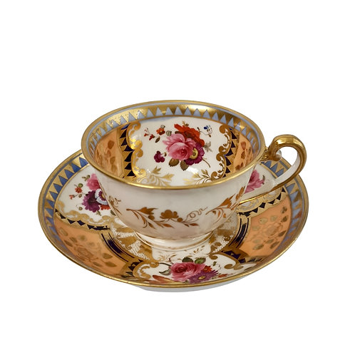 Ridgway teacup, apricot, periwinkle and flowers patt. 2/1044, ca 1820