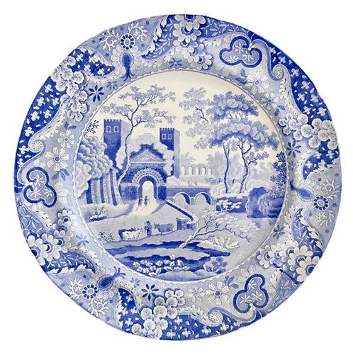 """Spode pearlware plate, """"Castle"""" blue & white transfer 1816-1833"""