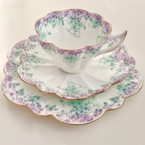Teacup trio, lilac Trailing Violets on Snowdrop shape, Wileman 1895