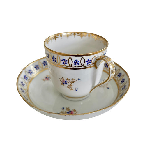 Crown Derby coffee cup, white, gilt with blue cornflowers, 1782-1790