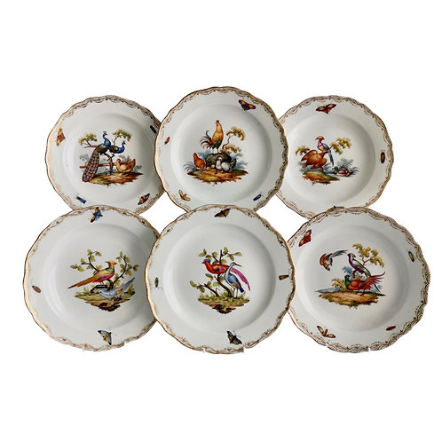 Set of 6 Meissen dessert plates, various hand painted birds, 1852-1870