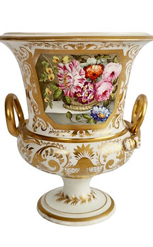 Bloor Derby campana vase, white with gilt and flowers, ca 1815
