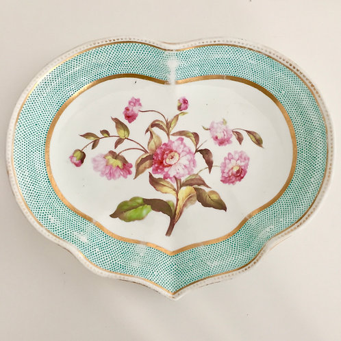 Heart shaped dish, pink named flower, Crown Derby ca 1820
