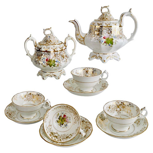 Staffordshire part tea service, Rococo Revival style ca 1845
