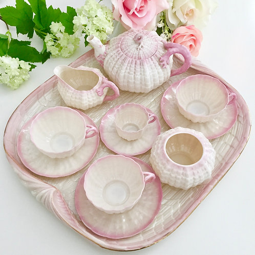 Cabaret tea set, pink Tridacna Belleek 1891-1926