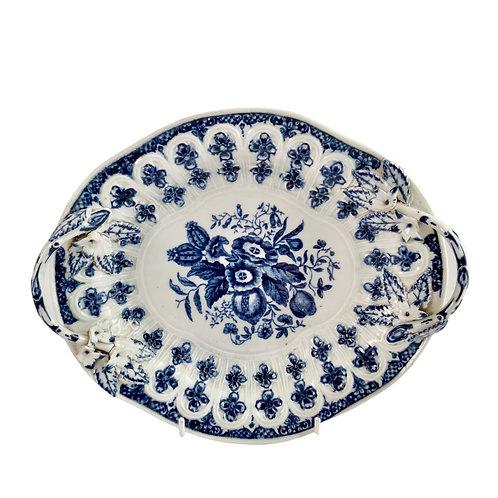 Worcester chestnut basket stand, blue on white pine cone pattern, ca 1770