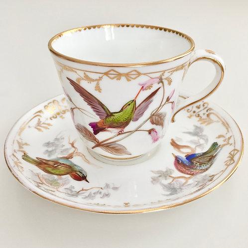 Rare teacup, birds painted by John Randall, Coalport 1868