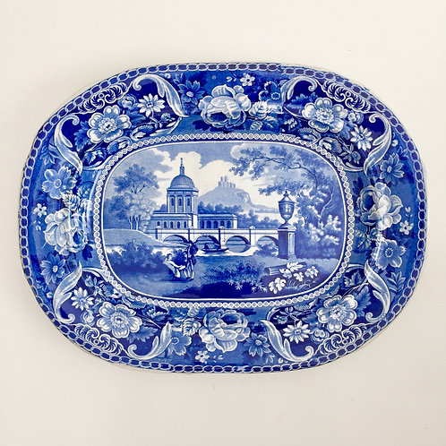 Staffordshire pearlware meat platter, blue and white transfer, ca 1820