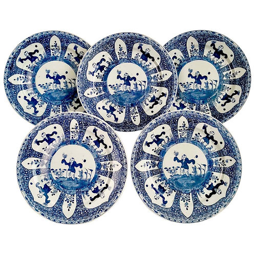 Set of 5 Chinese Export plates, Boy with Butterfly, 19th C