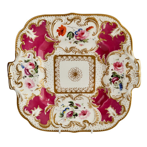 Minton cake plate, maroon with flower reserves, ca 1830