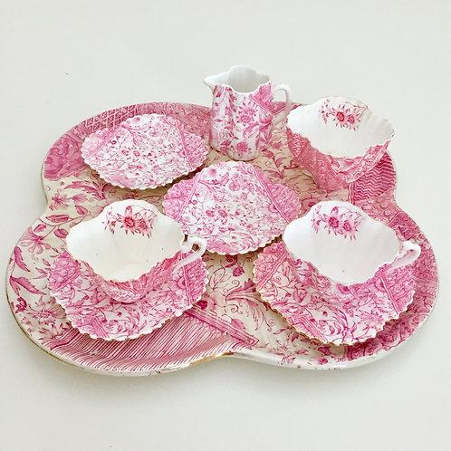 Part cabaret set, pink Dolly Varden, Wileman 1884