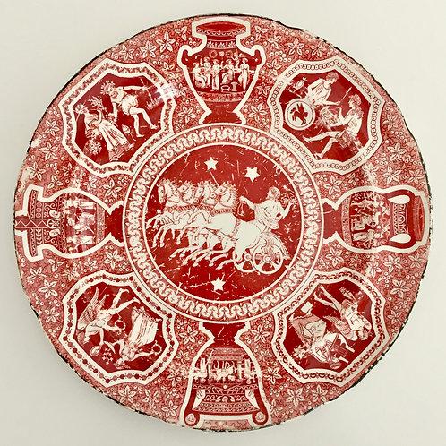 Herculaneum plate, red Greek Kirk pattern Zeus, ca 1810