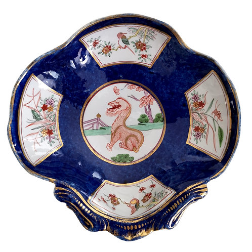 John Rose Coalport shell dish, blue scale with dragon, ca 1805