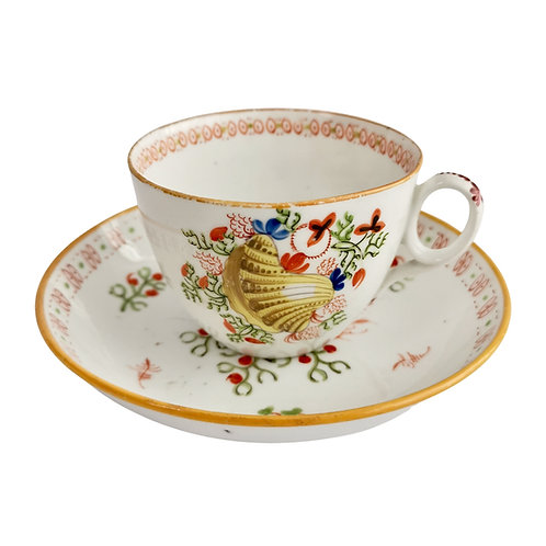 New Hall teacup, Yellow Shell pattern 1045, ca 1810