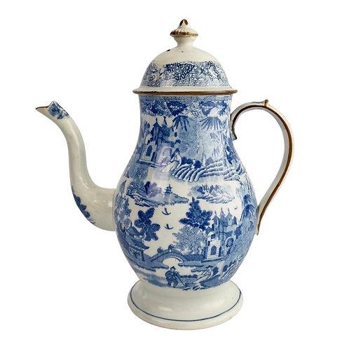 Rathbone pearlware coffee pot, Pagoda pattern, ca 1815